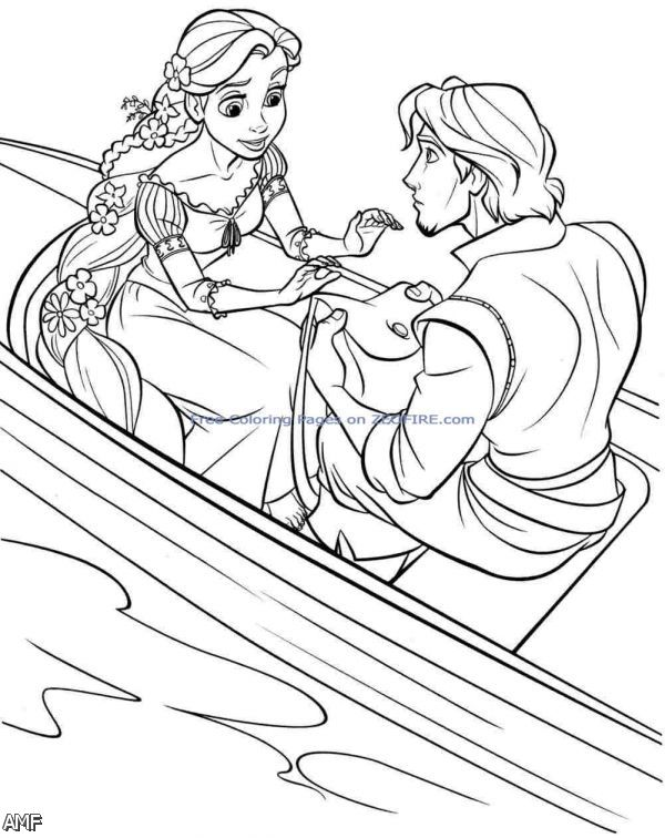 Disney princess rapunzel and flynn coloring pages 2015 for Disney tangled coloring pages