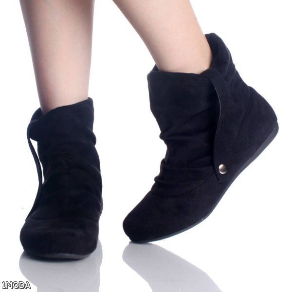 flat black ankle boots for 2015 2016 fashion