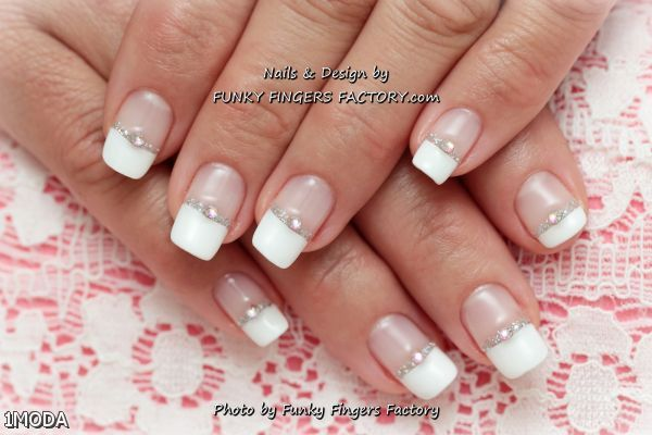 French Nails With Gems 2015-2016