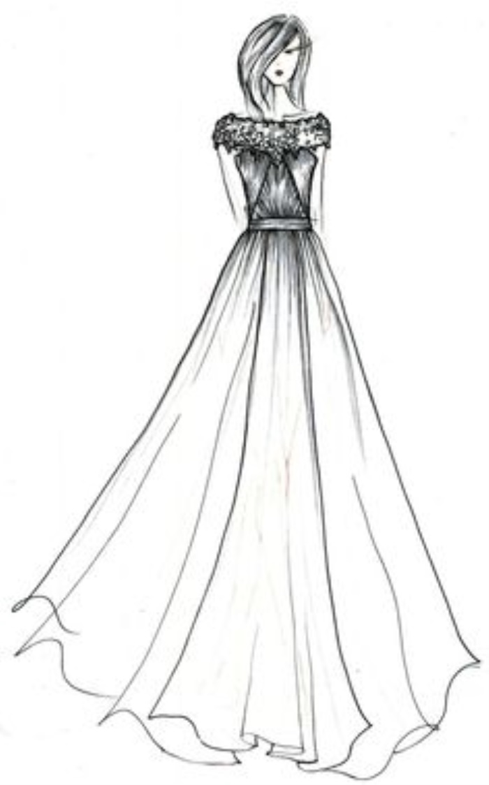 It's just a graphic of Slobbery Drawing Of Dress Design