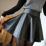 2013_leather_female_winter_short_bust_skirt_high_waist_pleated_plus_size_PU_small_leather_women_skirts_pleated_skirt_-_за_1_шт