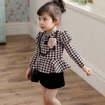 2014_Autumn_Winter_girls_kids_flounced_dress_long-sleeved_girls_dress_patchwork_princess_Lattice_Party_OL_dress_gift_Necklace