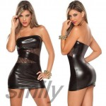 Plus_Size_XL_Sexy_Black_Wet_Look_Vinyl_PVC_Clubwear_Costume_Dancer_Dress_eBay