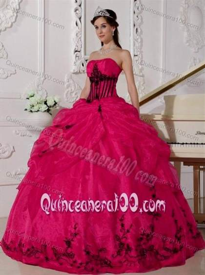 black and pink quinceanera dresses