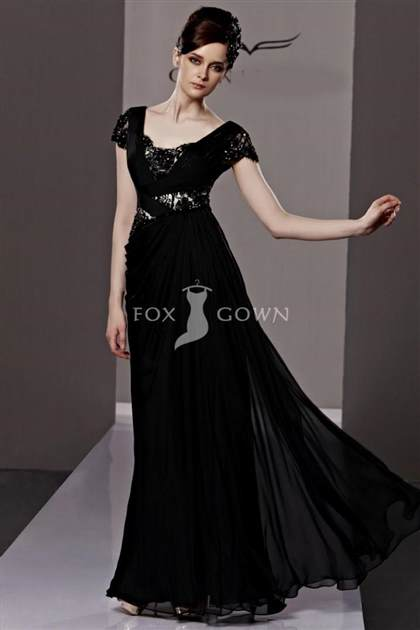 black ball gown with sleeves