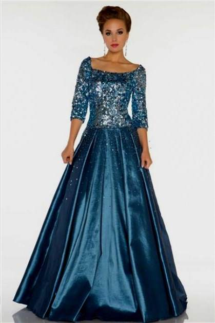 blue modest prom dresses