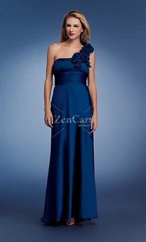 dark blue one shoulder prom dress