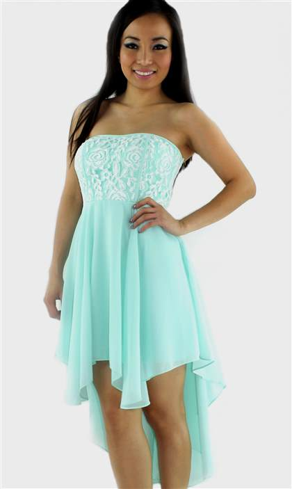high low dresses strapless
