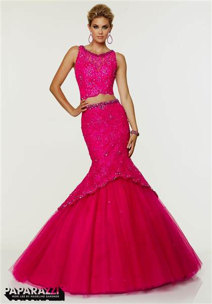 hot pink lace prom dress