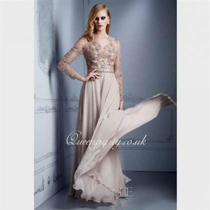 long sleeve chiffon prom dress
