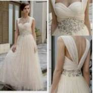 long tan lace bridesmaid dresses