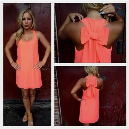 neon orange and pink dress
