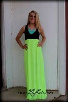 neon yellow maxi dress