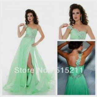 one shoulder mint green prom dresses