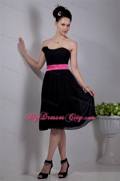 pink and black bridesmaid dresses