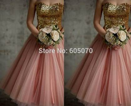 pink and gold dresses for bridesmaid