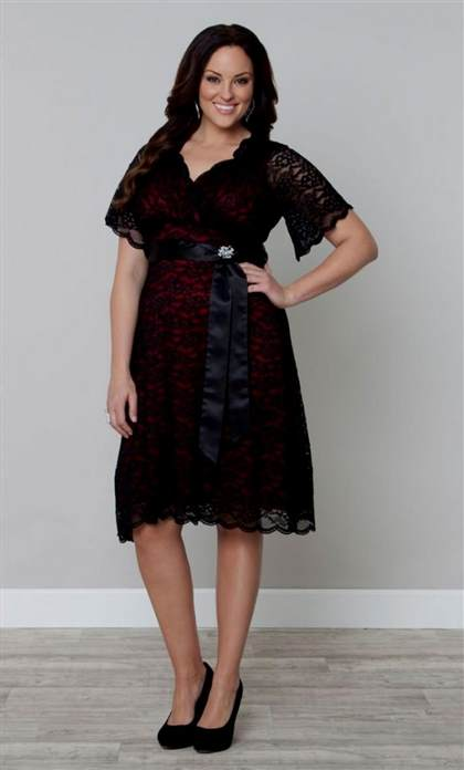 plus size red lace cocktail dress