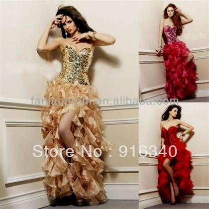 prom dresses high low gold
