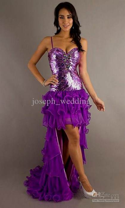 purple prom dresses short in front long in back