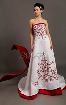 red accent wedding dress