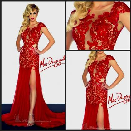 red lace prom dress with sleeves