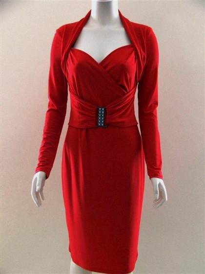 red long sleeve cocktail dresses