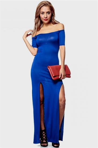 royal blue slit maxi dress