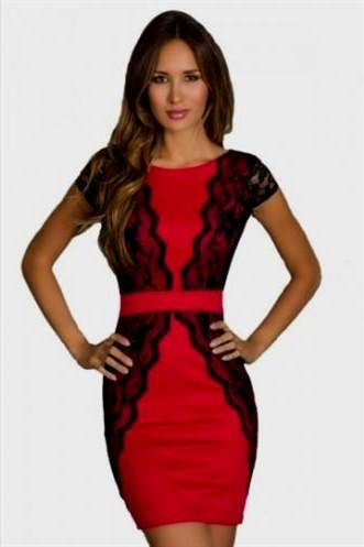 short red and black lace dress