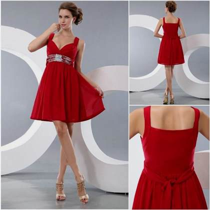 short red prom dresses with straps