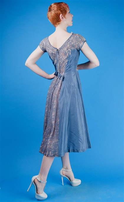 slate blue lace dress