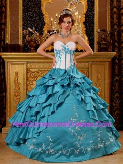teal and white quinceanera dresses