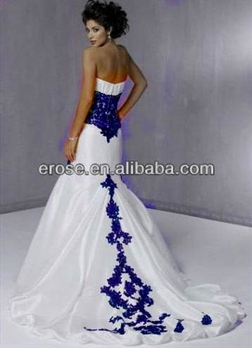 white and blue mermaid wedding dresses