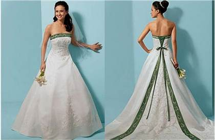 white and lime green wedding dress