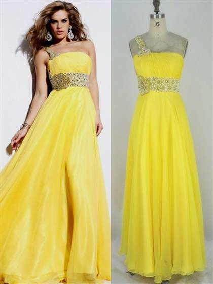 yellow prom dresses one shoulder
